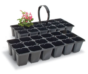 Landmark's Market Packs and Landscape Trays feature push-up bottoms for easy handling.