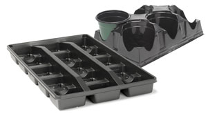Landmark Plastic transport trays coordinate with various pot sizes.